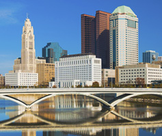Picture of bridge and skyline in Columbus, OH